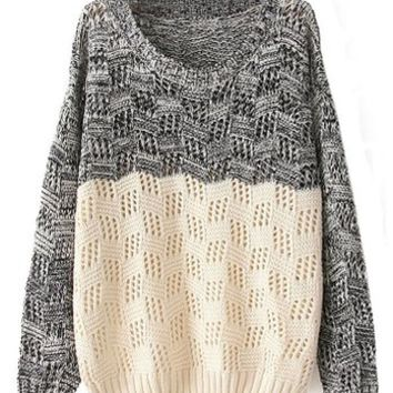 Sheinside Women's Black Beige Long Sleeve Geo Pattern Sweater Pullover Sweatshirt