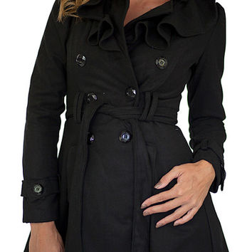 Ruffle Trench Coat Black