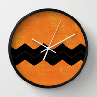 Halloween Chevron Wall Clock by Kat Mun | Society6