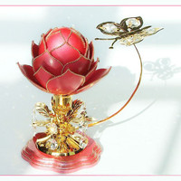 Gift for her - Gift for moms- Red lotus souvenir - Swarovski crystals -  Red flower - Goose eggshell souvenir - Unusual souvenir