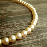 "Vintage Ivory Pearl Necklace, 16"" Choker, 6mm Glass Pearls, Single Strand Faux Pearl Necklace, Estate Wedding Bridal Jewelry, Vintage Bride"