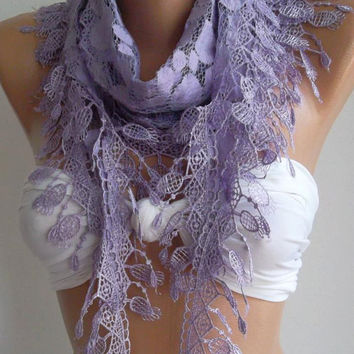Lilac  -- Elegance  Shawl // Scarf with Lacy Edge--