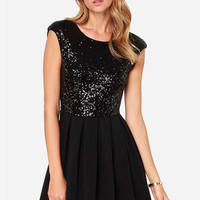 Because The Night Black Sequin Skater Dress