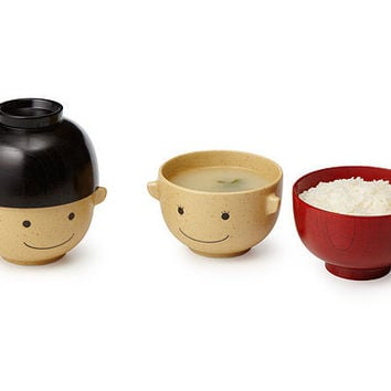 WOODEN SMILEY FACE BOWLS - SET OF 2