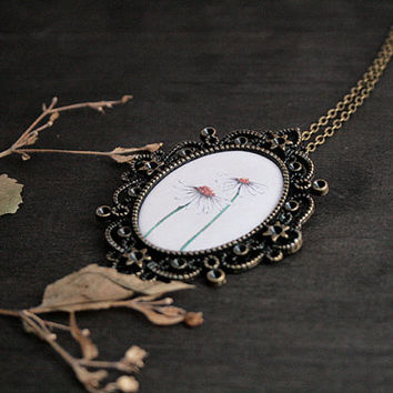 Oval Antique Brass Necklace - Fantasy Border - Epoxy Glass - Daisies