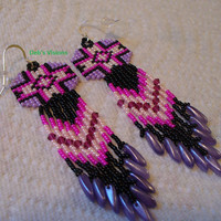 Square stitch beaded Hot Pink,Lavender and Black Native American inspired earrings