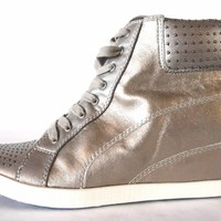 SPLENDID HELSINKI Pewter Designer Shoes Lace Up Fashion Wedge Sneakers 9B