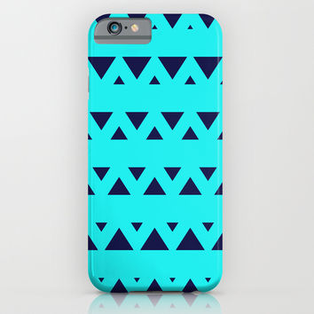 Tribal Triangles Navy Turquoise iPhone & iPod Case by Beautiful Homes