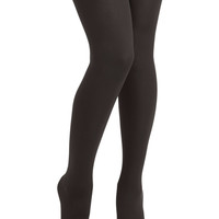ModCloth Urban With the Greatest of Fleece Tights in Black