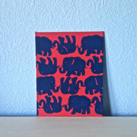 "8"" x10"" Canvas Panel Tusk in Sun Lilly Pulitzer Inspired Elephant Print Acrylic Painting Room Wall Decor"