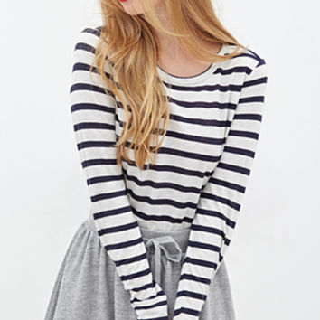 FOREVER 21 Heathered Stripe Knit Top Oatmeal/Navy