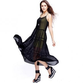 Bqueen Straps Chiffon Dress Black NH09H - Designer Shoes|Bqueenshoes.com