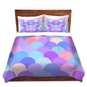 DiaNoche Designs Unique Decorative Designer Duvet Covers and Shams | Organic Saturation's Pastel Scales Pattern