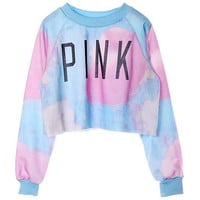 So'each Women's Colorful Tie Dye and Pink Letters Print Midriff Crop Sweatshirt (Blue)