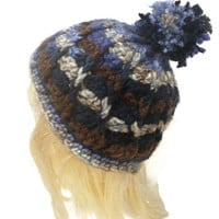 crochet poof hat, swirl poof hat, chunky beanie, winter hat