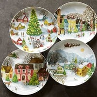 Winter Village Plates, Set of 4, benefiting Give a Little Hope campaign