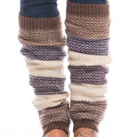 Colorblock Leg Warmer, Mocha