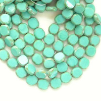 12 pcs pcs Turquoise Picasso czech glass oval beads by akya