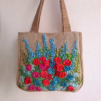 Tote Bag - Rose, lupines Tote bags - Indigo, red Tote Bag - Handbag - Shoulder bag - Bags and Purses - Woman Bag - Large Bag