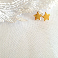 Gold star earrings, star shaped earrings, casual jewelry, post earrings, Urban chic