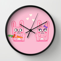 Oh, bunnies!.. Wall Clock by Trapezoid