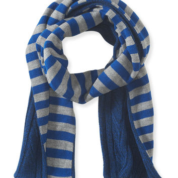 Aeropostale Cable-Knit Stripe Reversible Scarf - Deep Navy, One