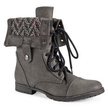 Aeropostale Chevron Foldover Boot - Pipe Grey, 6