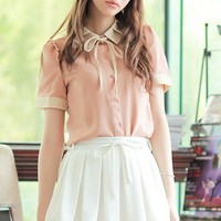 Women Polyester  Stand-Up Collar Short Sleeve Pink Fitting Top S/M/L@MF9851p - Shirts,Blouses - Women