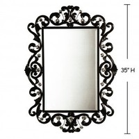 Wake Up Frankie - Black Scroll Jewels Wall Mirror