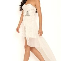 Strapless Sequin Lace High Low Homecomign Dress with Vintage Stones