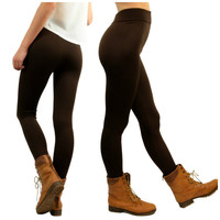 In For The Night Dark Brown Fleece Leggings - One