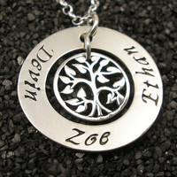 Hand Stamped Necklace - Sterling Silver Personalized Necklace - Family Tree Necklace - Tiny Tokens