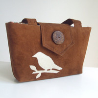 Wayfarer Purse - Bird Applique Bag - Chestnut Brown Faux Suede - Vegan