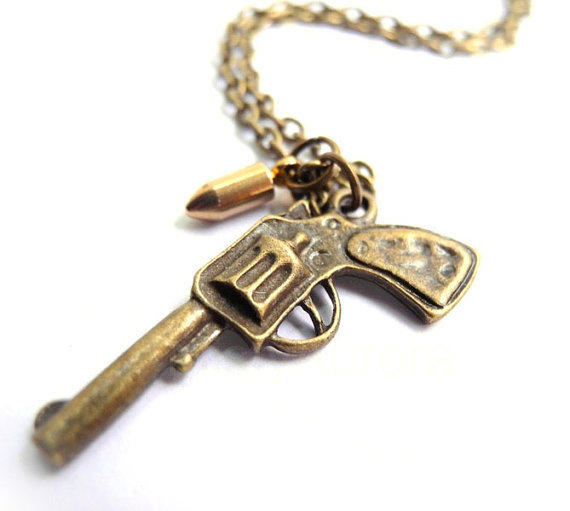 pistol necklace gun bullet necklace from my
