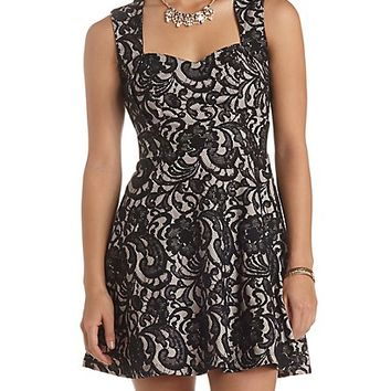 Cut-Out Lace Skater Dress by Charlotte Russe - Black Combo