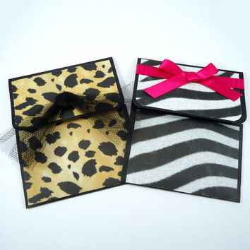Zebra Cheetah gift card holder pocket set of 2, all occasion, birthday, money envelopes, animal print