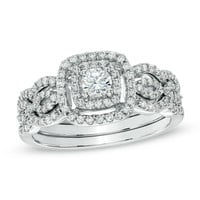 5/8 CT. T.W. Diamond Double Frame Bridal Set in 10K White Gold