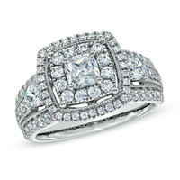 1-3/4 CT. T.W. Princess-Cut Diamond Double Frame Engagement Ring in 14K White Gold