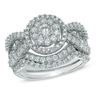 2 CT. T.W. Diamond Cluster Bridal Set in 14K White Gold