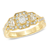 1 CT. T.W. Certified Emerald-Cut Diamond Three Stone Vintage-Style Ring in 14K Gold (H-I/SI2-I1)