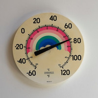 Vintage Rainbow Indoor Outdoor 1970s Circular Jumbo Dial Thermometer Springfield USA
