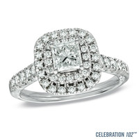 Celebration 102® 1-1/2 CT. T.W. Princess-Cut Diamond Double Frame Engagement Ring in 18K White Gold (I/SI2)
