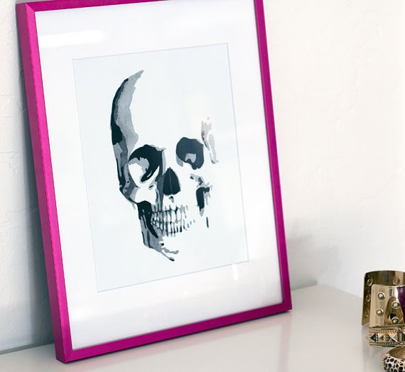 Skull Watercolor Giclee Print 8.5 x 11