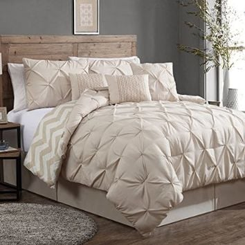 Geneva Home Fashion 8-Piece Ella Pinch Pleat Comforter Set, King, Taupe