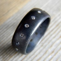 Mens Recycled Sterling with Blackened Gunmetal Finish and Conflict Free Diamond, Artisan Made