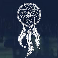 Boho style dream catcher vinyl car and laptop decal.