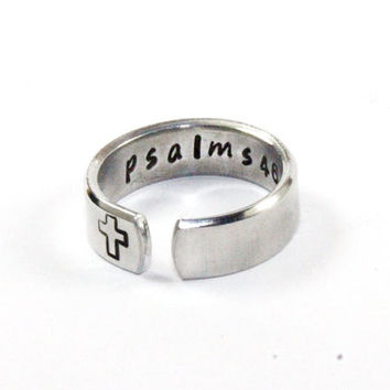 Bible Verses Ring, Your Favorite Bible Verse Ring, Personalized Religious Jewelry, Cross Ring, Hand Stamped Aluminum Adjustable Ring