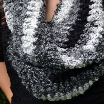 Shades of grey crocheted loop infinity scarf, cowl