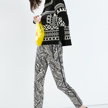 Print trousers with contrast piping
