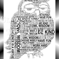 Owl Wisdom - OWL Shaped Word Art  Instant Download.  Printable Art Gift. PDF, Typography, Wall Art. Christmas gift,